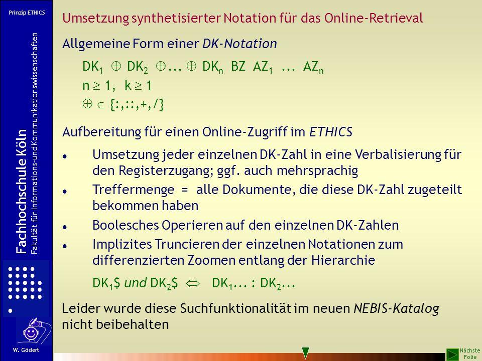 Umsetzung synthetisierter Notation für das Online-Retrieval