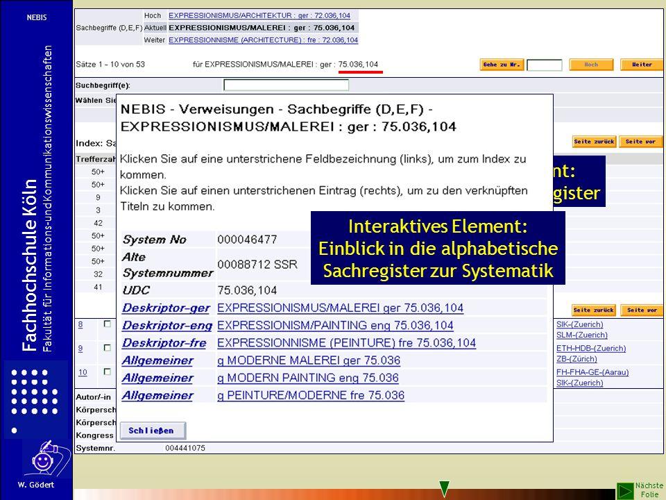 Interaktives Element: Einblick in das Sachregister Fachhochschule Köln