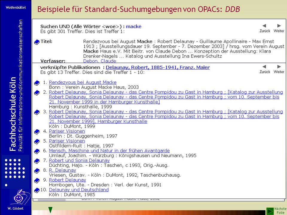 Beispiele für Standard-Suchumgebungen von OPACs: DDB