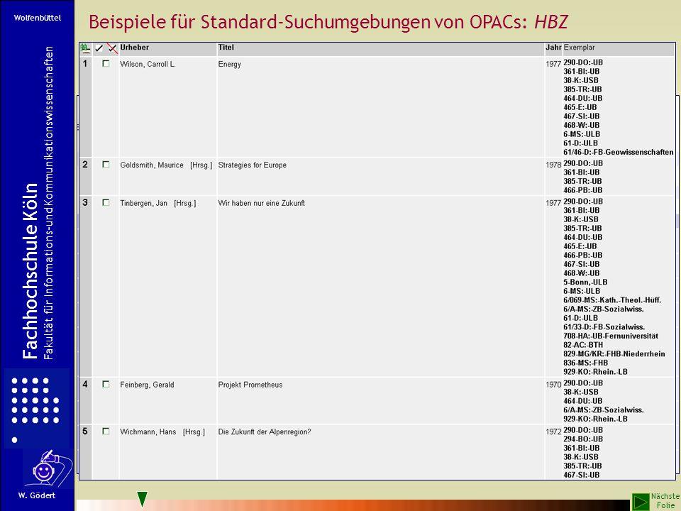 Beispiele für Standard-Suchumgebungen von OPACs: HBZ