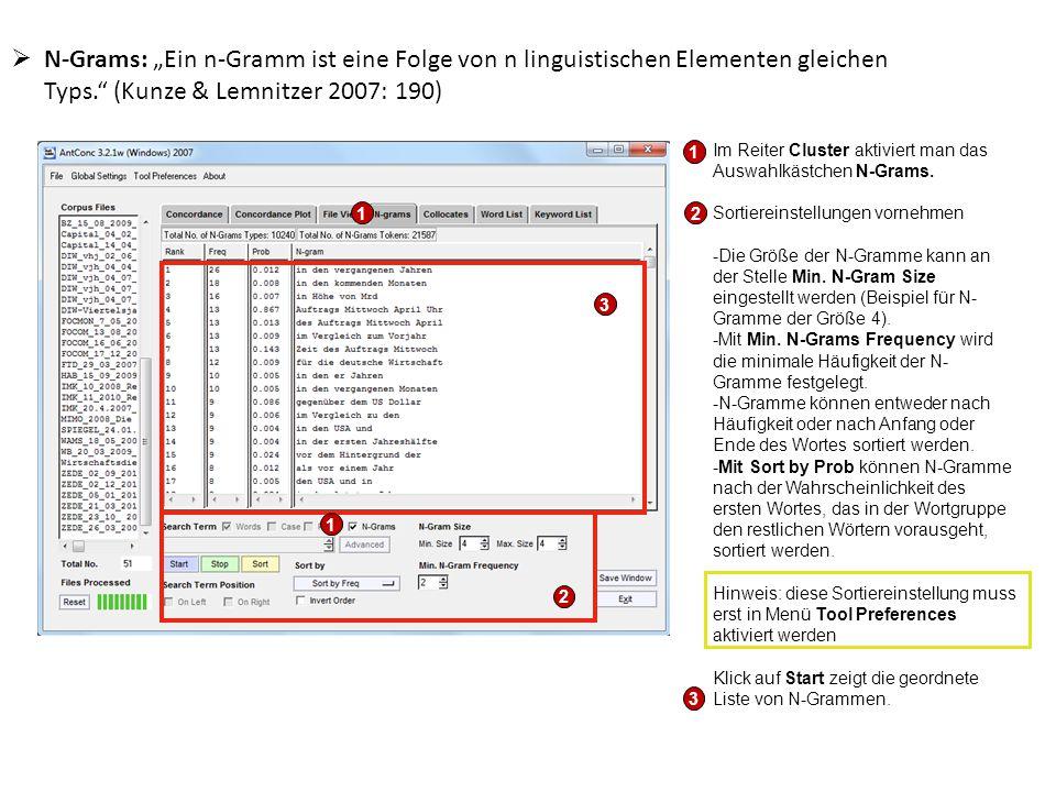 """N-Grams: """"Ein n-Gramm ist eine Folge von n linguistischen Elementen gleichen Typs. (Kunze & Lemnitzer 2007: 190)"""