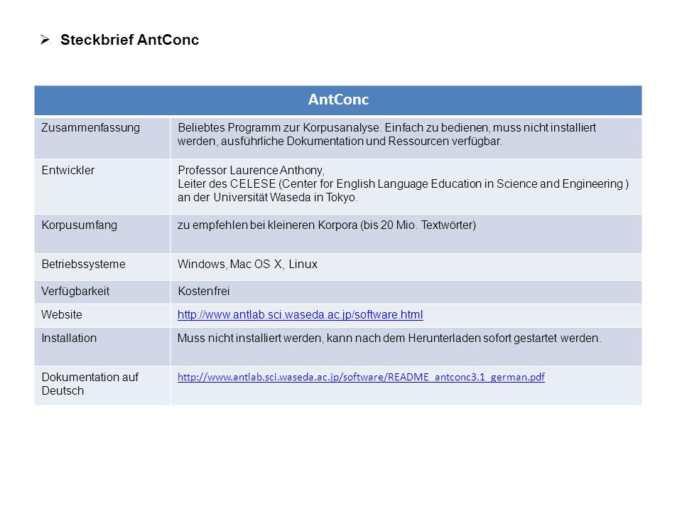 AntConc Steckbrief AntConc Zusammenfassung