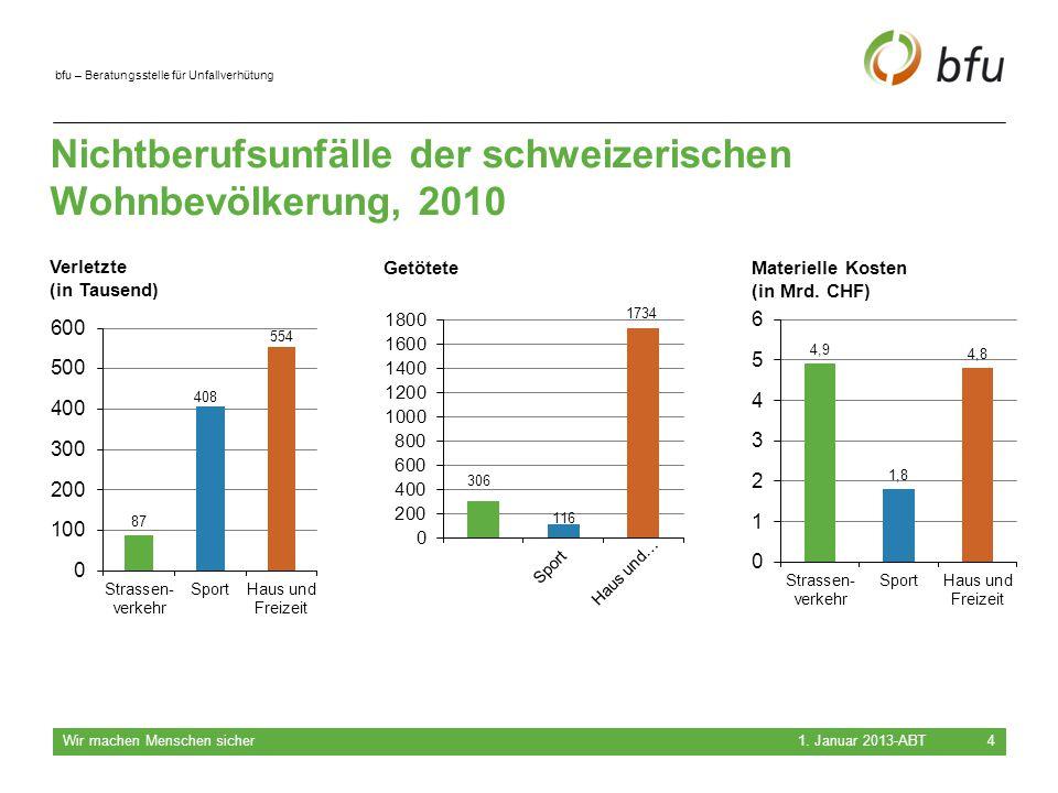 Nichtberufsunfälle der schweizerischen Wohnbevölkerung, 2010