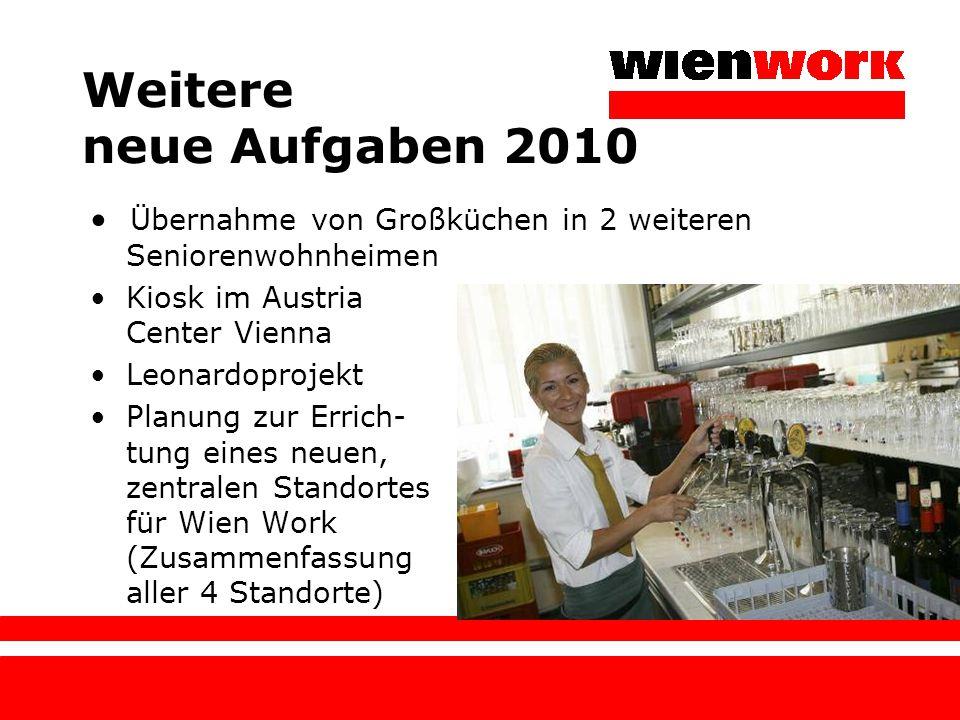 Weitere neue Aufgaben 2010 • Übernahme von Großküchen in 2 weiteren Seniorenwohnheimen. Kiosk im Austria Center Vienna.
