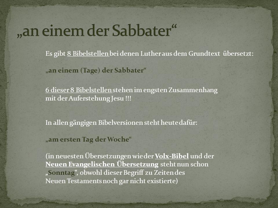 """""""an einem der Sabbater"""