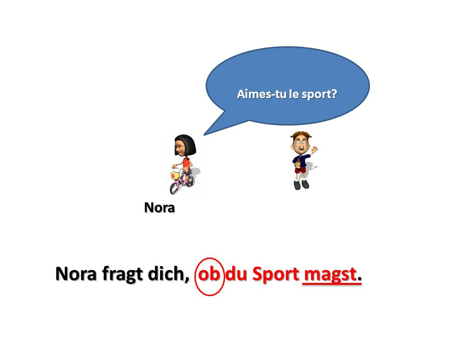 Aimes-tu le sport Nora Nora fragt dich, ob du Sport magst.