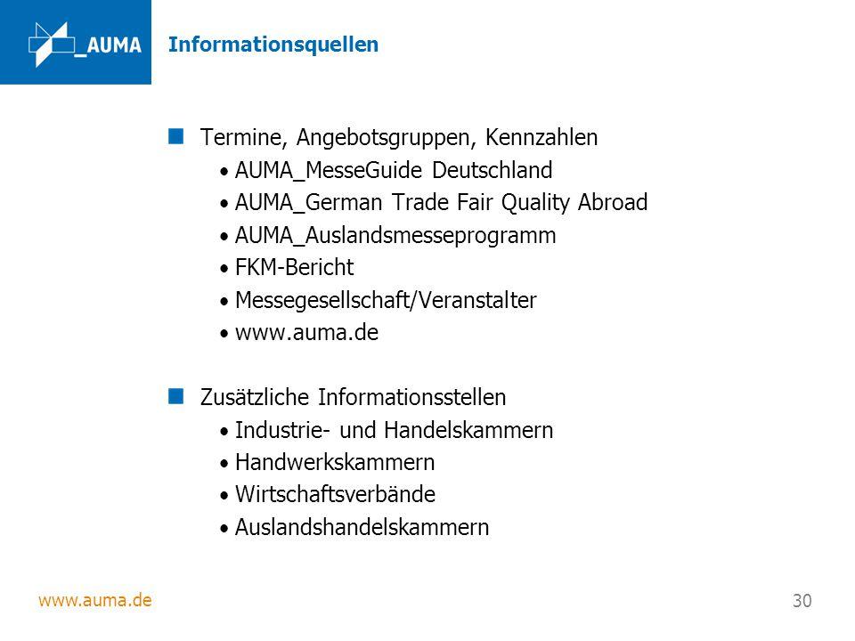 Termine, Angebotsgruppen, Kennzahlen AUMA_MesseGuide Deutschland