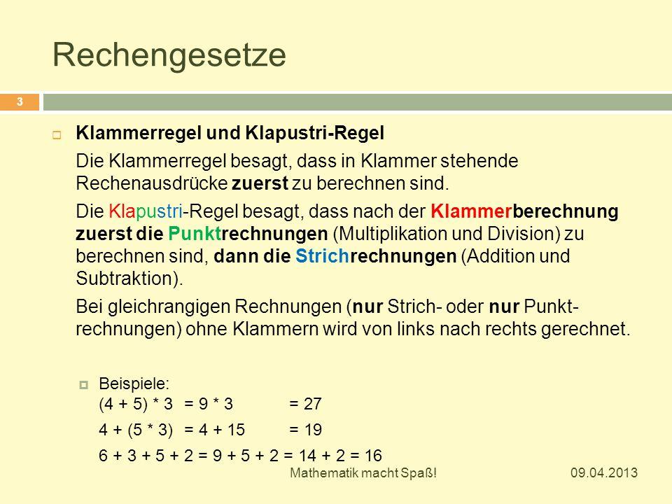 Rechengesetze Klammerregel und Klapustri-Regel