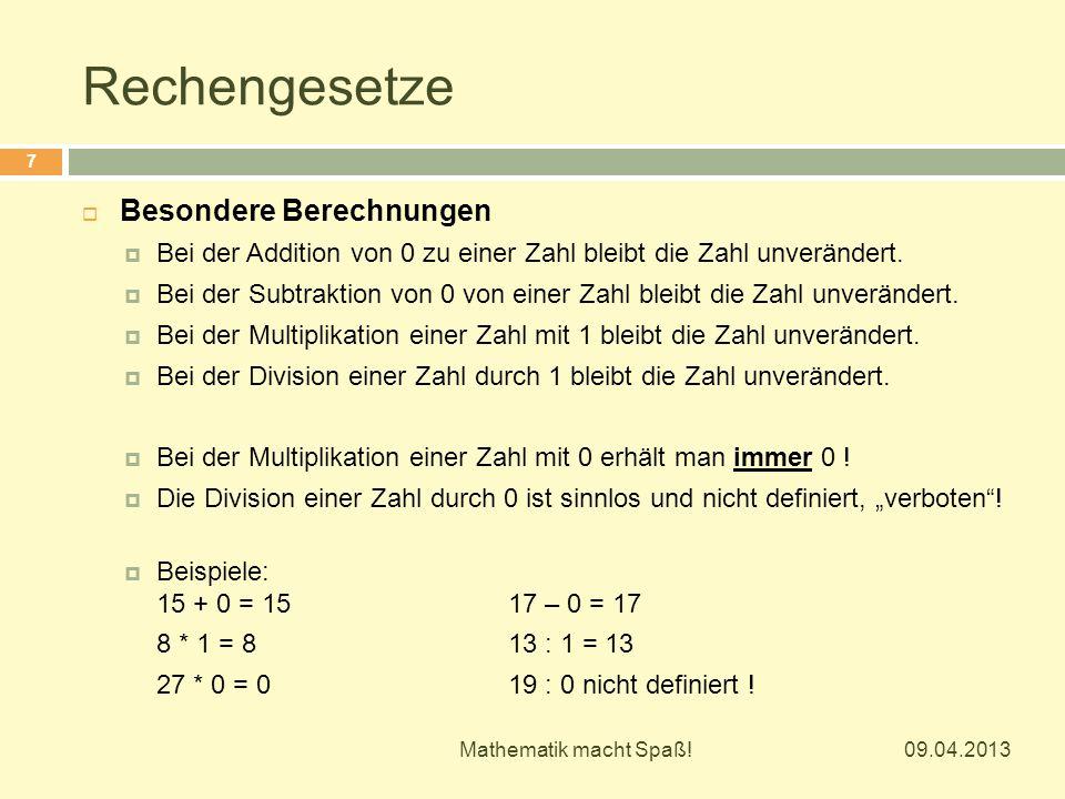Rechengesetze Besondere Berechnungen