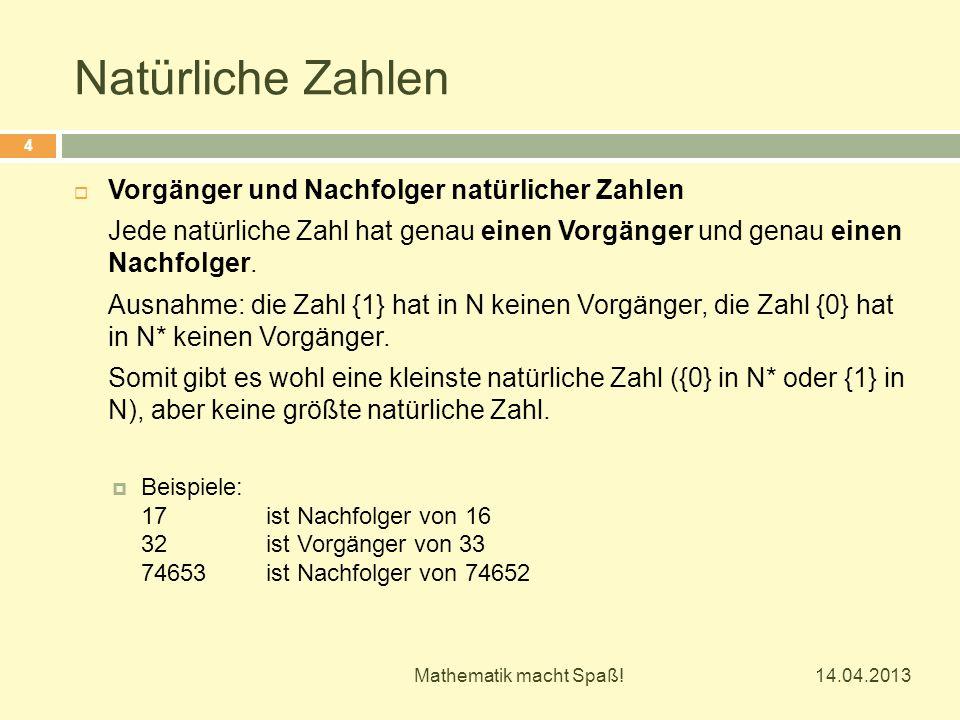 Natürliche Zahlen Vorgänger und Nachfolger natürlicher Zahlen