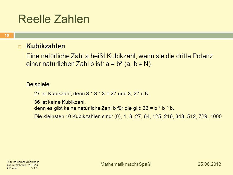 Reelle Zahlen Kubikzahlen
