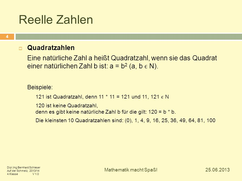 Reelle Zahlen Quadratzahlen