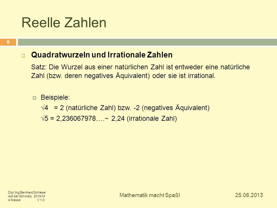 Reelle Zahlen Quadratwurzeln und Irrationale Zahlen
