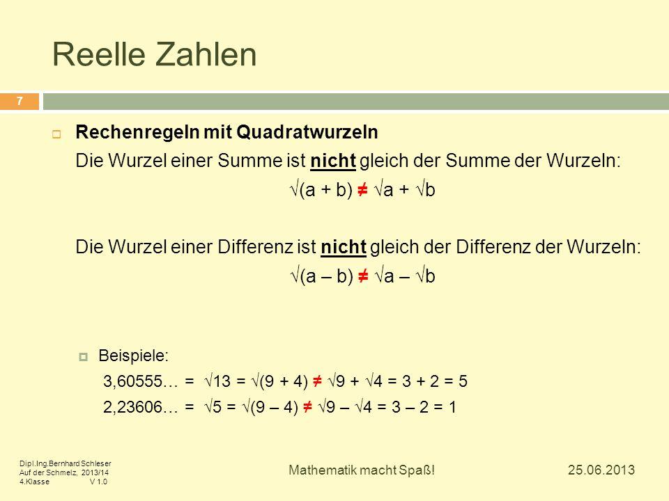Reelle Zahlen Rechenregeln mit Quadratwurzeln