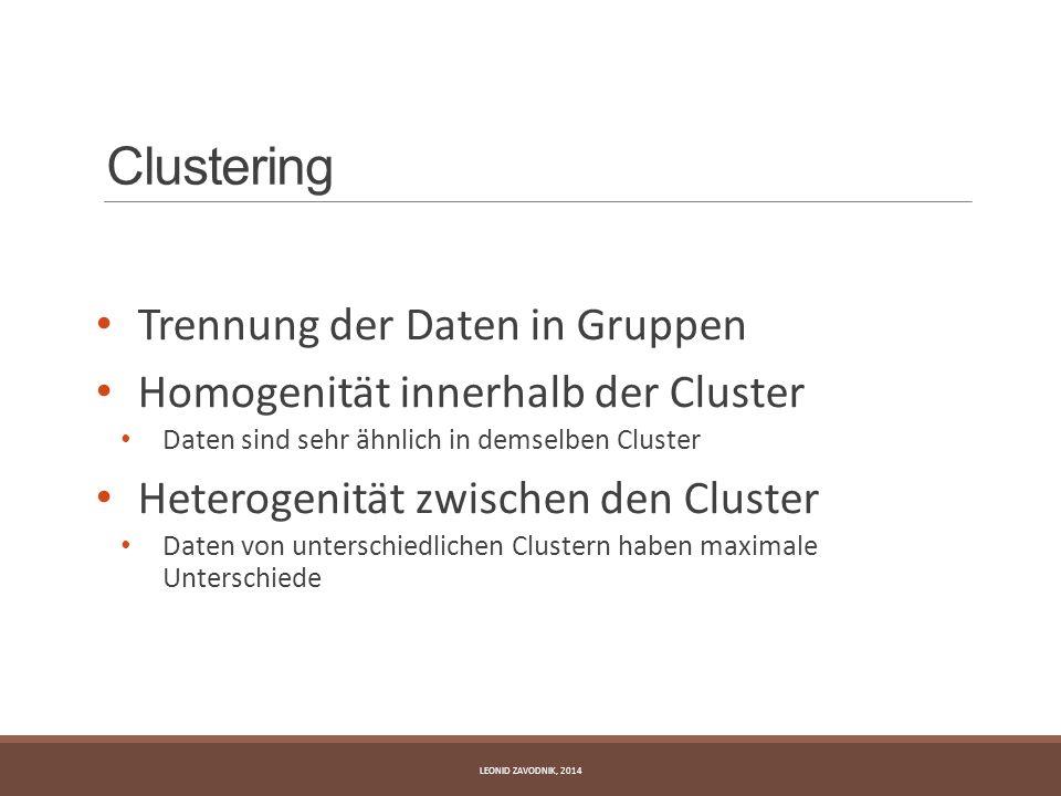 Clustering Trennung der Daten in Gruppen