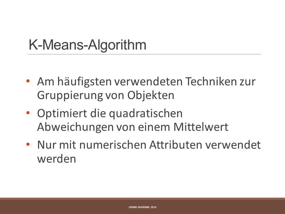 K-Means-Algorithm Am häufigsten verwendeten Techniken zur Gruppierung von Objekten.