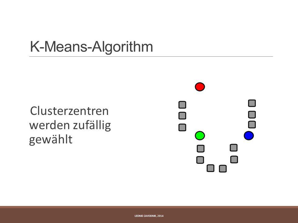 K-Means-Algorithm Clusterzentren werden zufällig gewählt