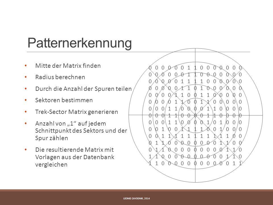 Patternerkennung Mitte der Matrix finden Radius berechnen