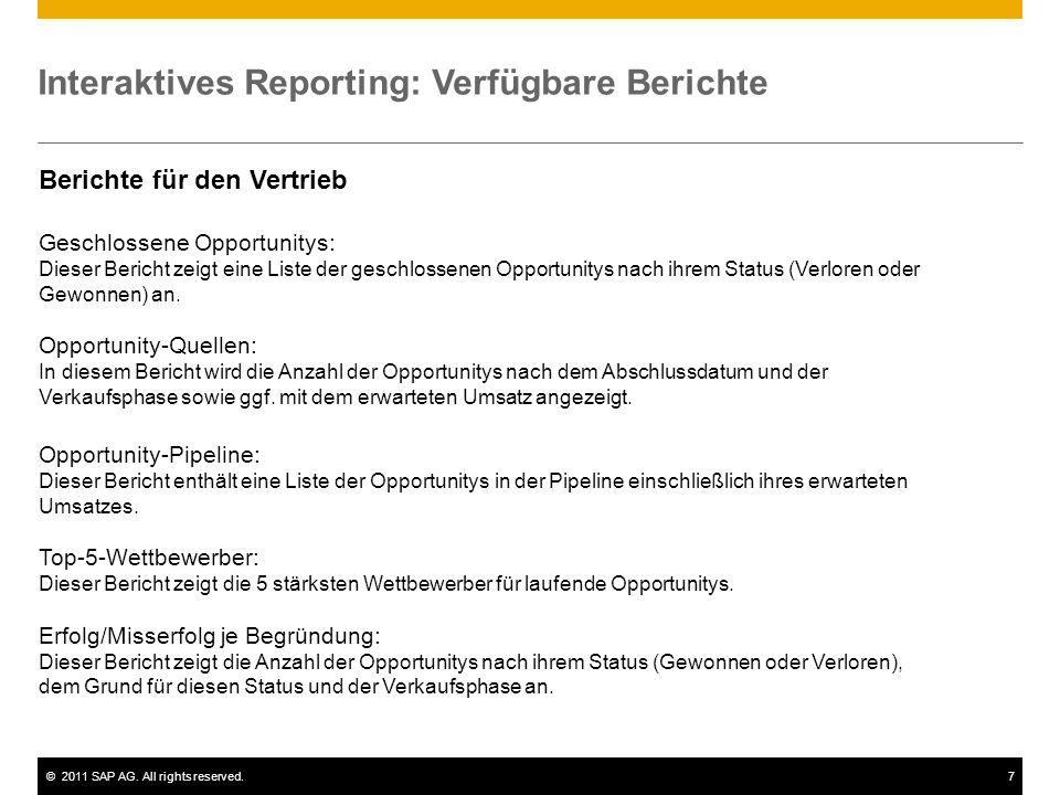 Interaktives Reporting: Verfügbare Berichte