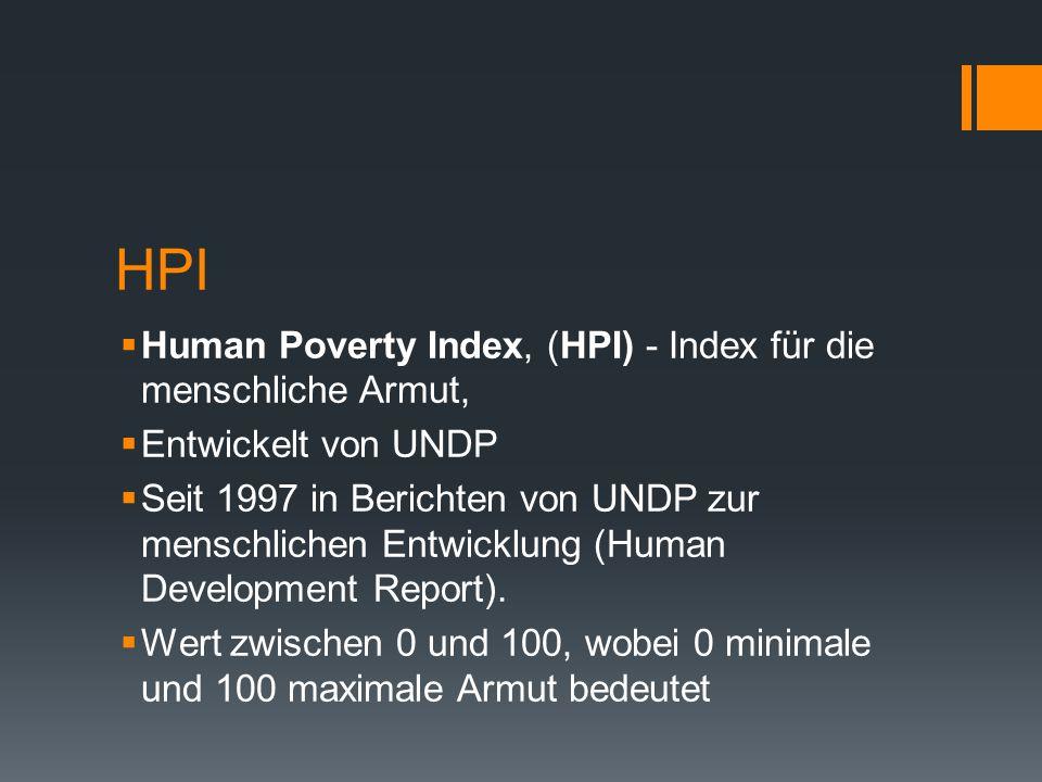 HPI Human Poverty Index, (HPI) - Index für die menschliche Armut,