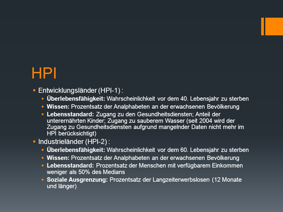 HPI Entwicklungsländer (HPI-1) : Industrieländer (HPI-2) :