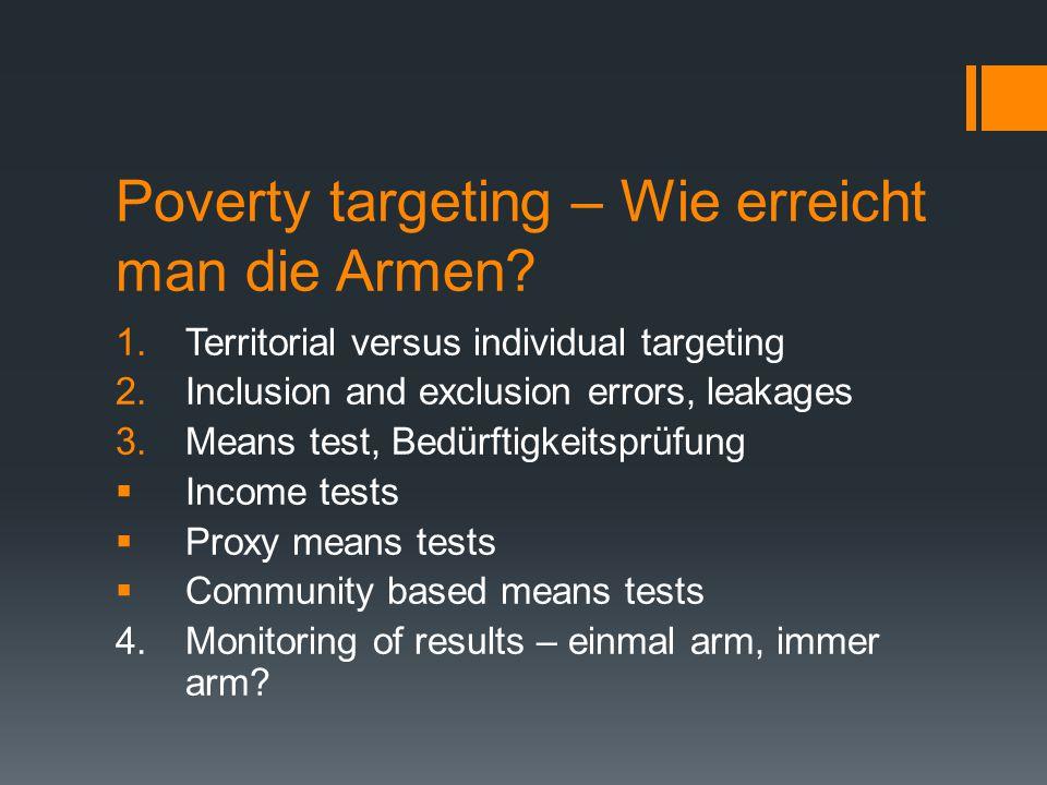 Poverty targeting – Wie erreicht man die Armen
