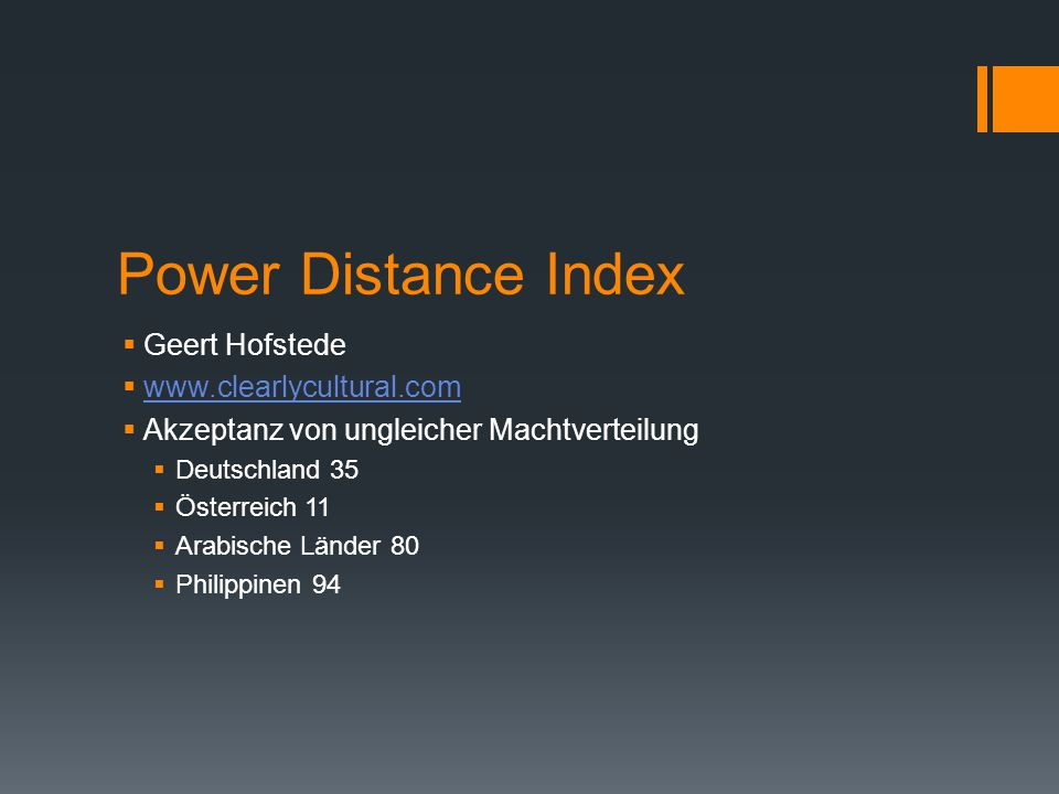Power Distance Index Geert Hofstede www.clearlycultural.com