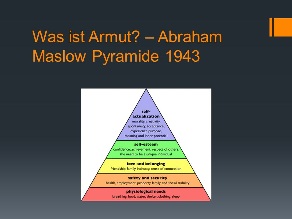Was ist Armut – Abraham Maslow Pyramide 1943