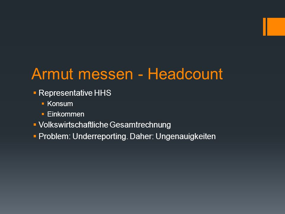 Armut messen - Headcount
