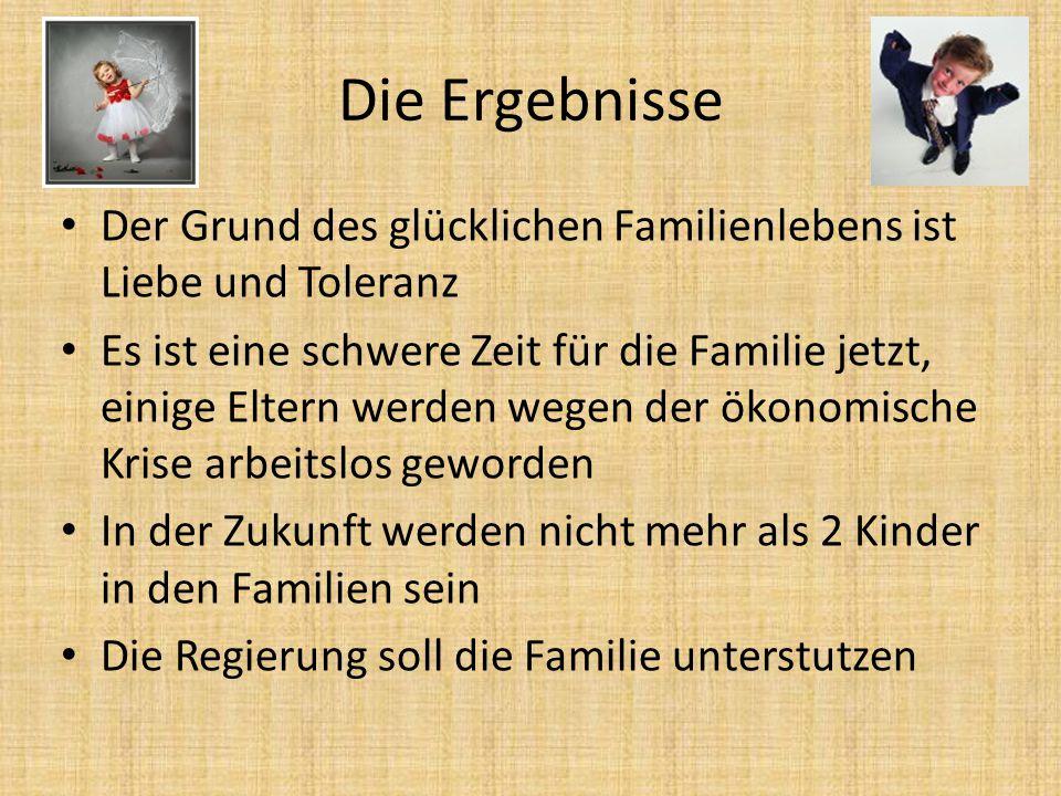 Die Ergebnisse Der Grund des glücklichen Familienlebens ist Liebe und Toleranz.