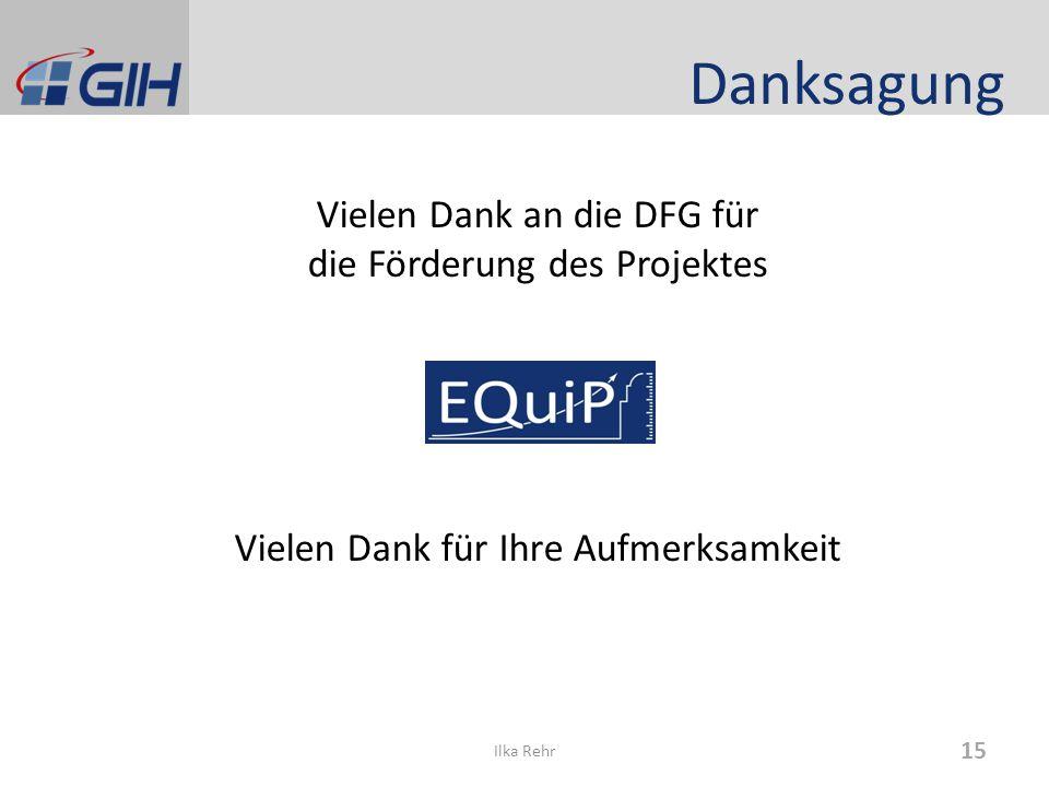 Danksagung Vielen Dank an die DFG für die Förderung des Projektes Vielen Dank für Ihre Aufmerksamkeit