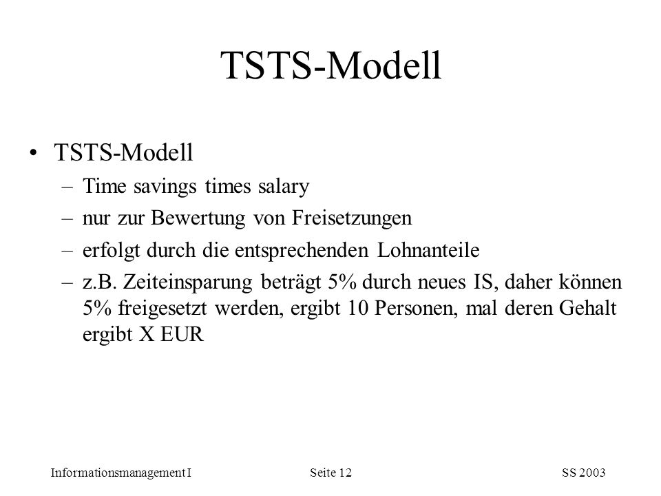TSTS-Modell TSTS-Modell Time savings times salary