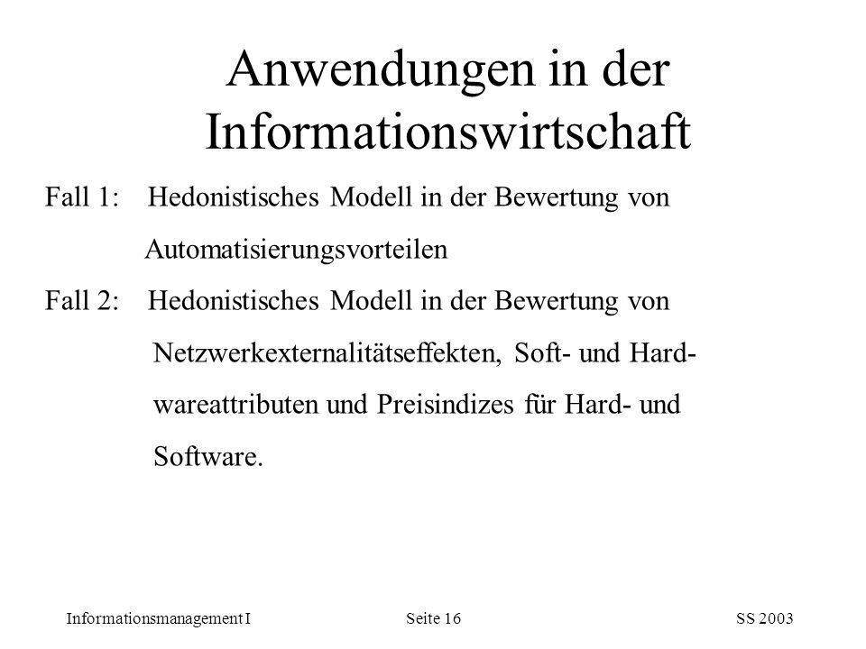 Anwendungen in der Informationswirtschaft