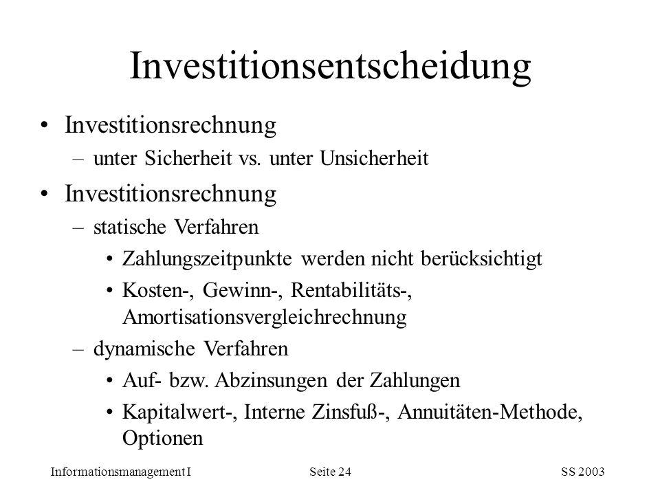 Investitionsentscheidung