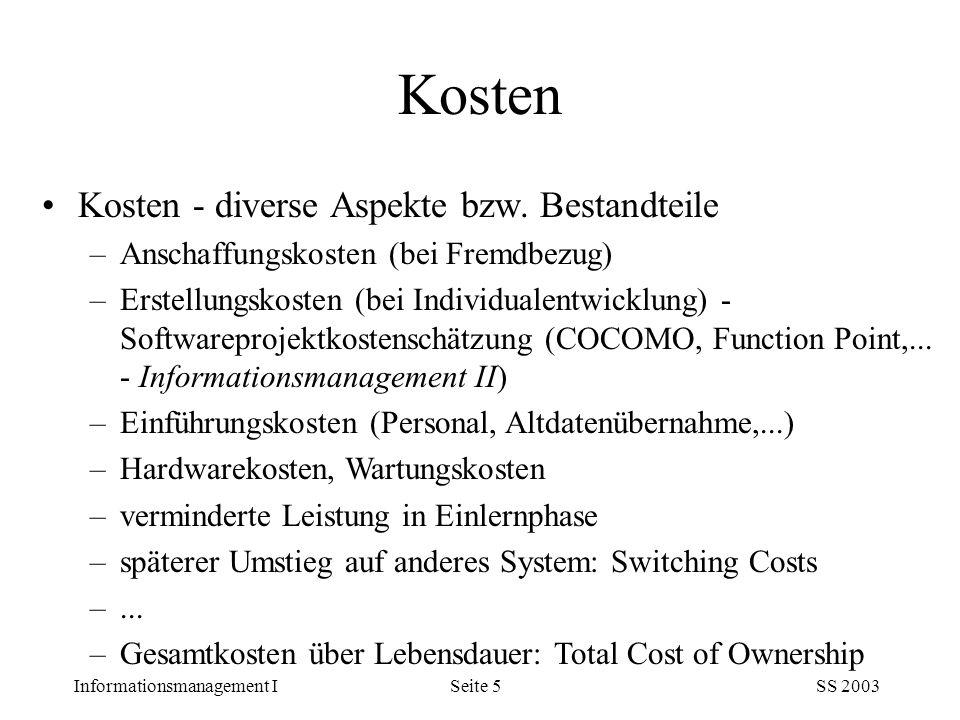 Kosten Kosten - diverse Aspekte bzw. Bestandteile