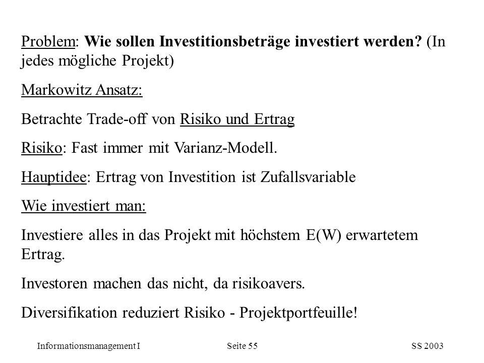Problem: Wie sollen Investitionsbeträge investiert werden