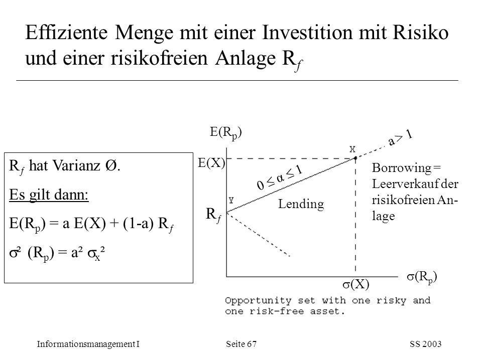 Effiziente Menge mit einer Investition mit Risiko und einer risikofreien Anlage Rf
