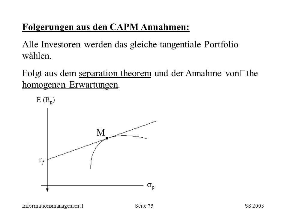 Folgerungen aus den CAPM Annahmen: