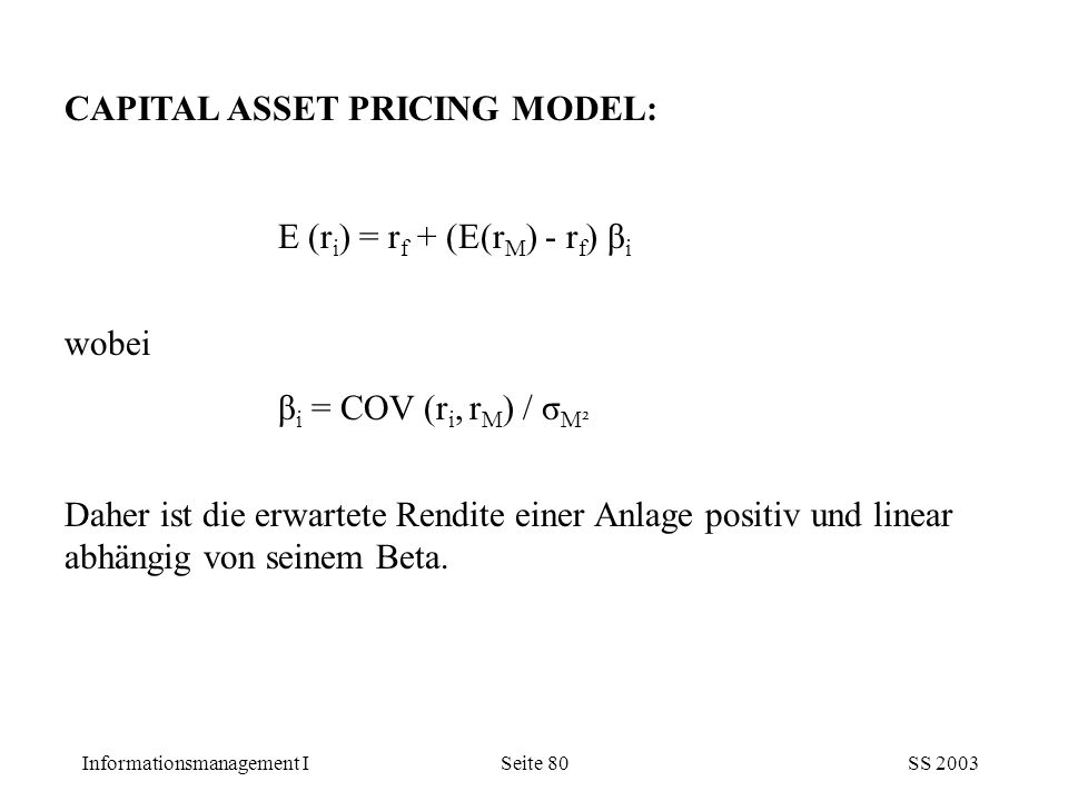CAPITAL ASSET PRICING MODEL: