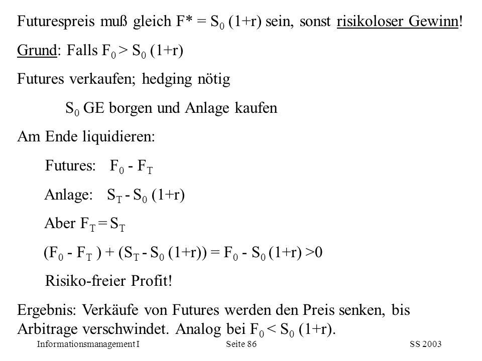 Futurespreis muß gleich F* = S0 (1+r) sein, sonst risikoloser Gewinn!