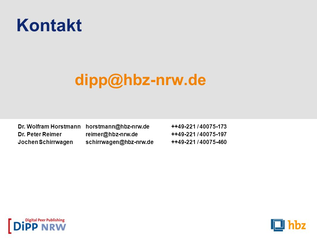 Kontakt dipp@hbz-nrw.de