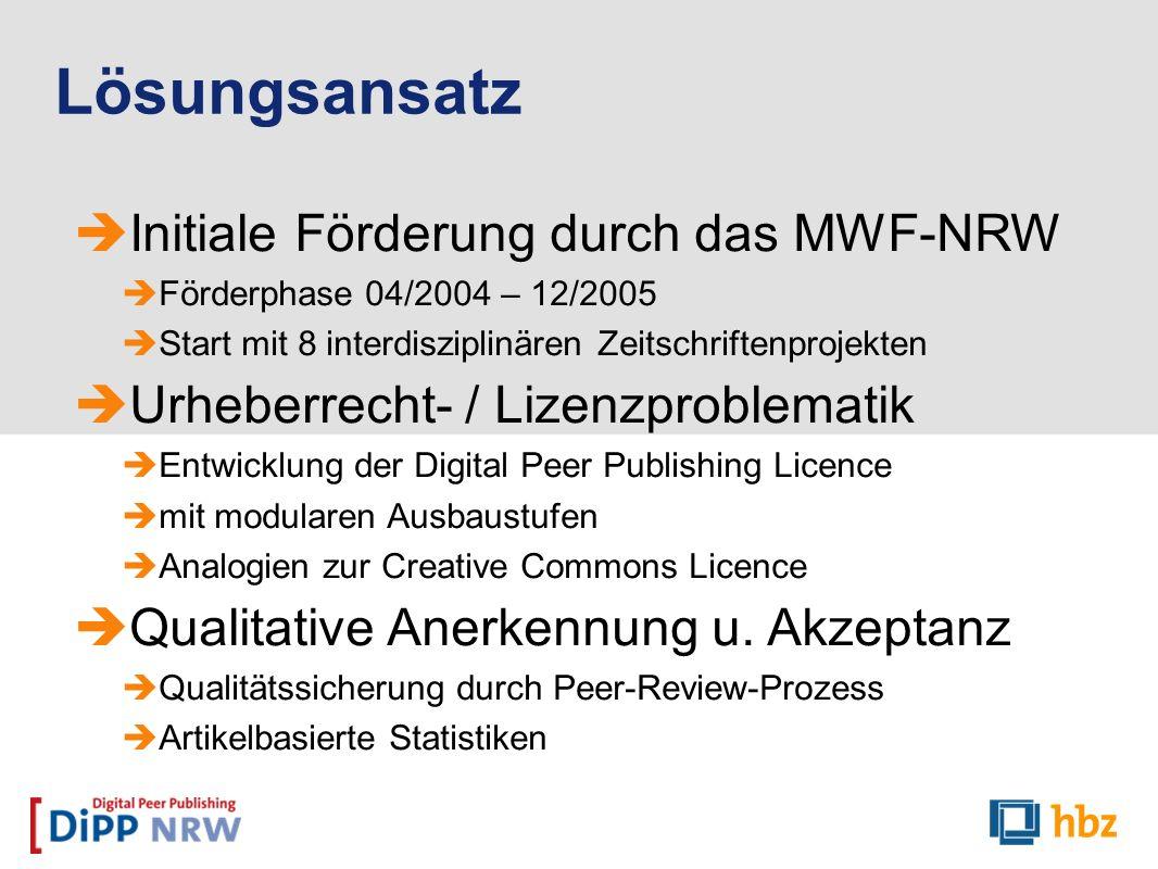 Lösungsansatz Initiale Förderung durch das MWF-NRW