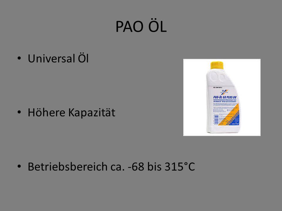 PAO ÖL Universal Öl Höhere Kapazität Betriebsbereich ca. -68 bis 315°C