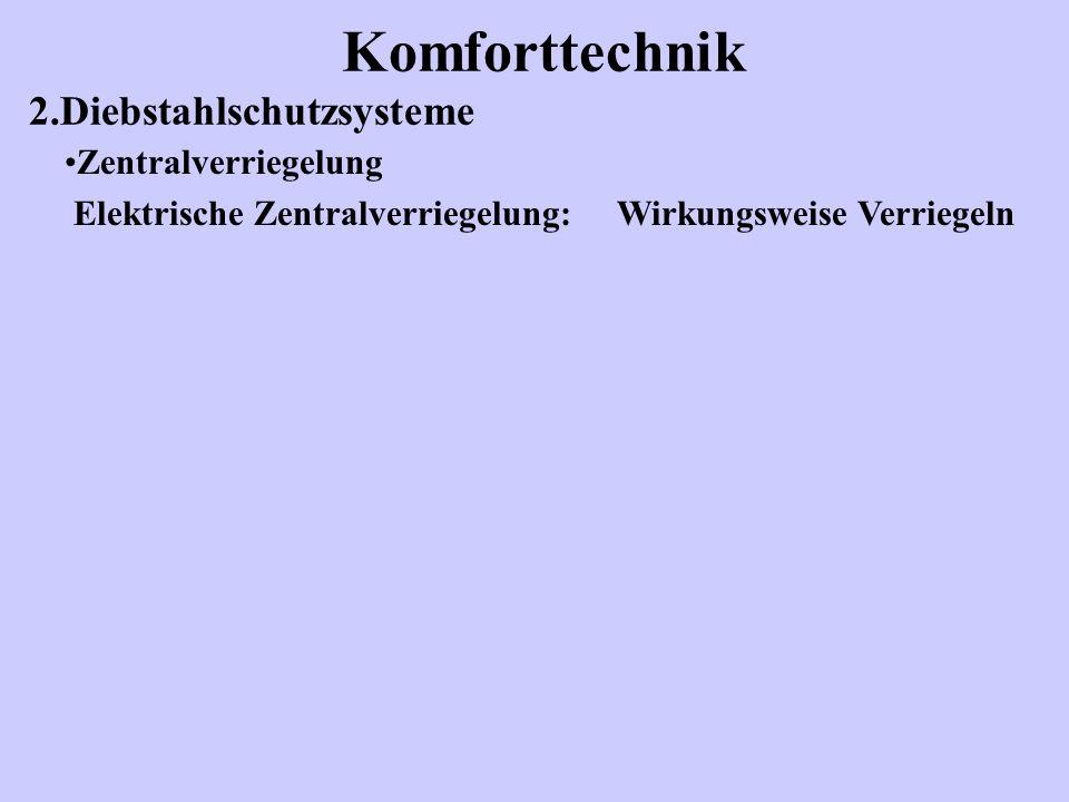 Komforttechnik 2.Diebstahlschutzsysteme Zentralverriegelung