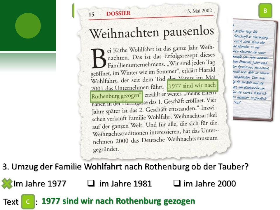 3. Umzug der Familie Wohlfahrt nach Rothenburg ob der Tauber