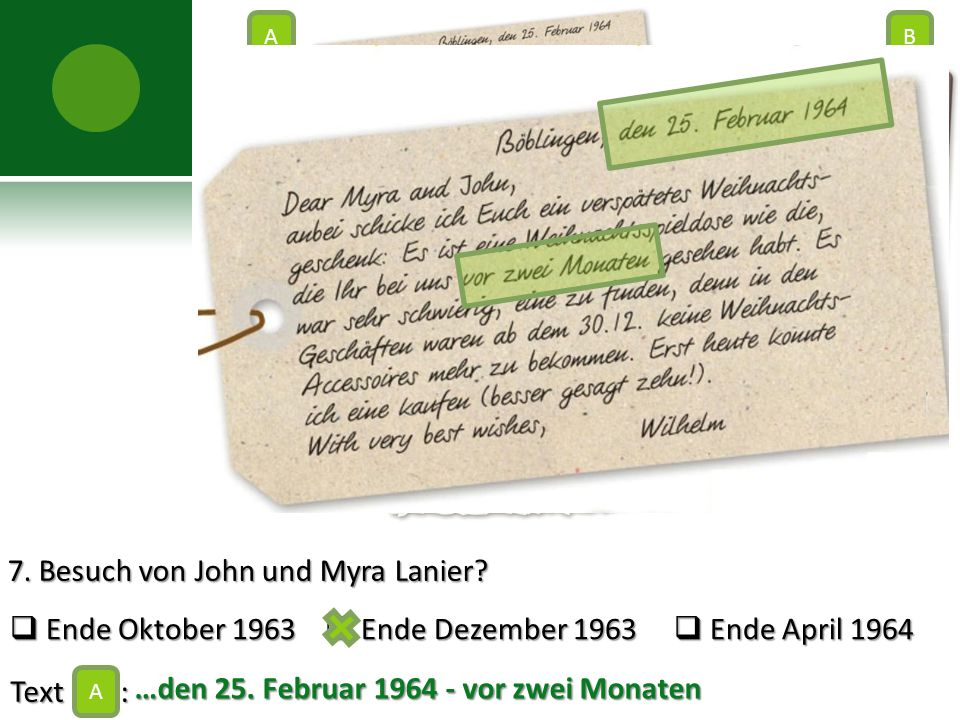 7. Besuch von John und Myra Lanier