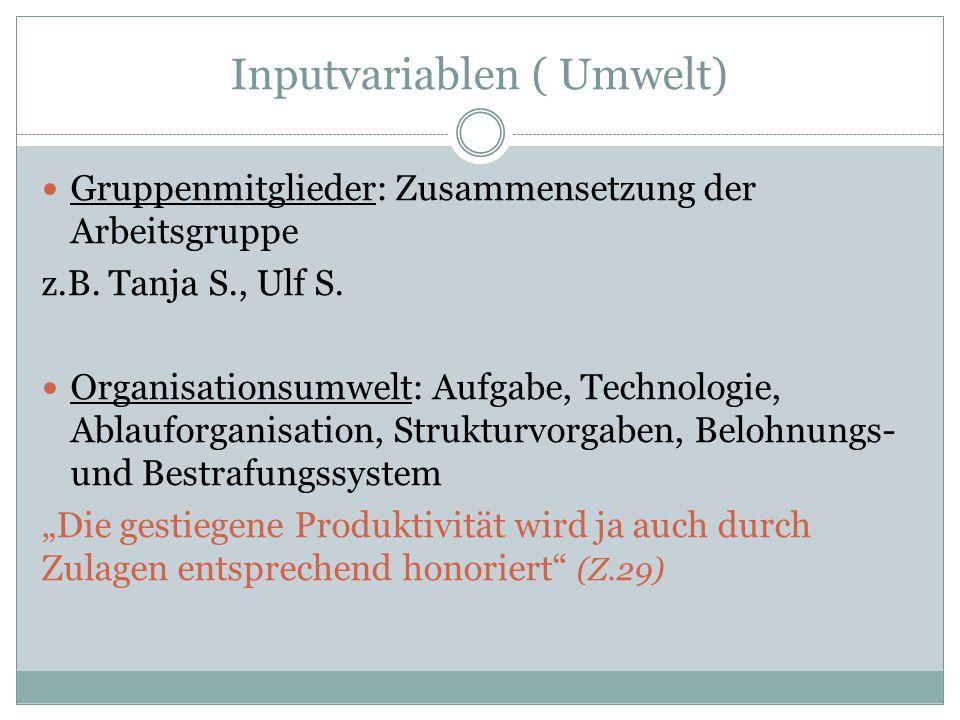Inputvariablen ( Umwelt)