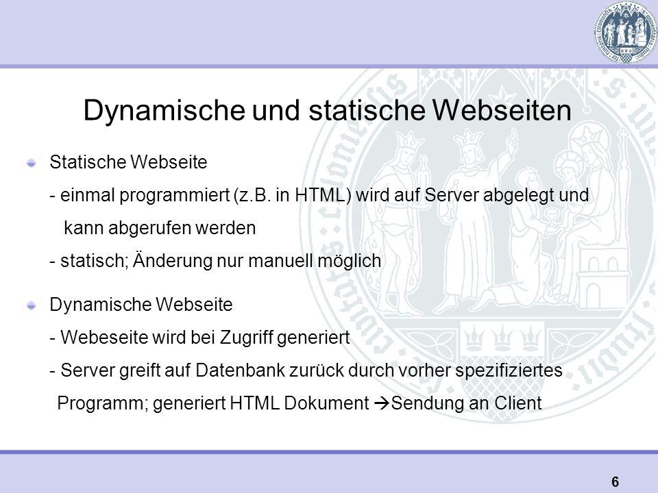 Dynamische und statische Webseiten