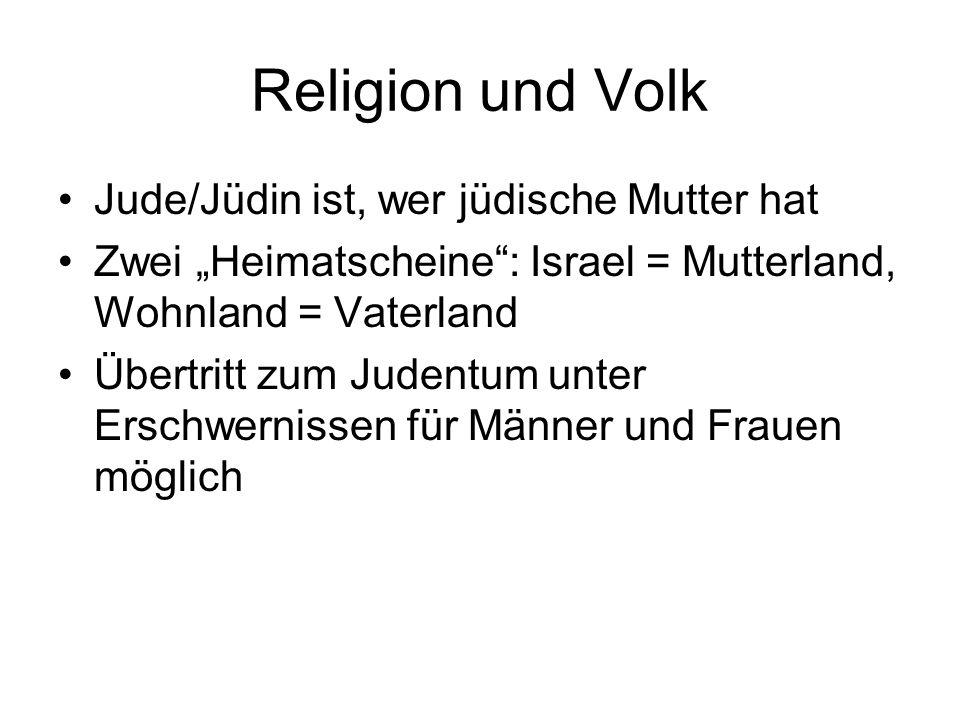 Religion und Volk Jude/Jüdin ist, wer jüdische Mutter hat