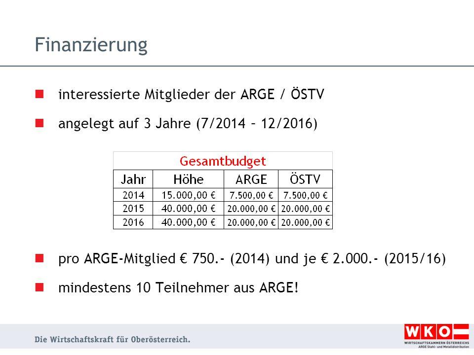 Finanzierung interessierte Mitglieder der ARGE / ÖSTV